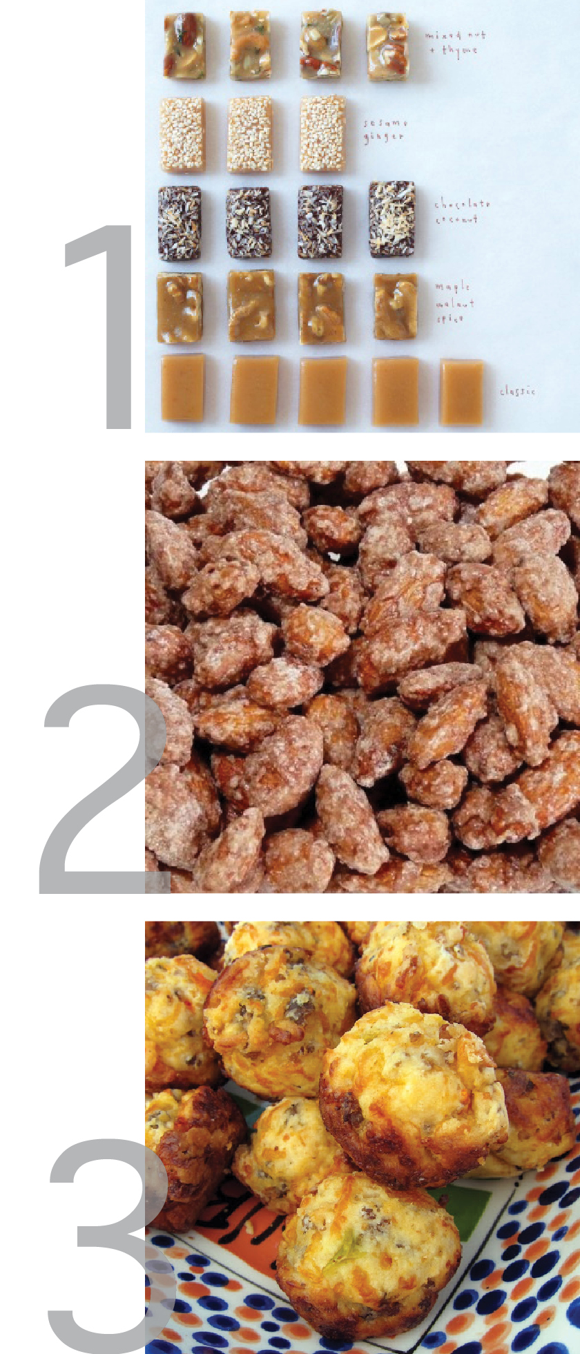 a graphic showing pictures of cinnamon almonds, sausage and cheese muffins and caramels