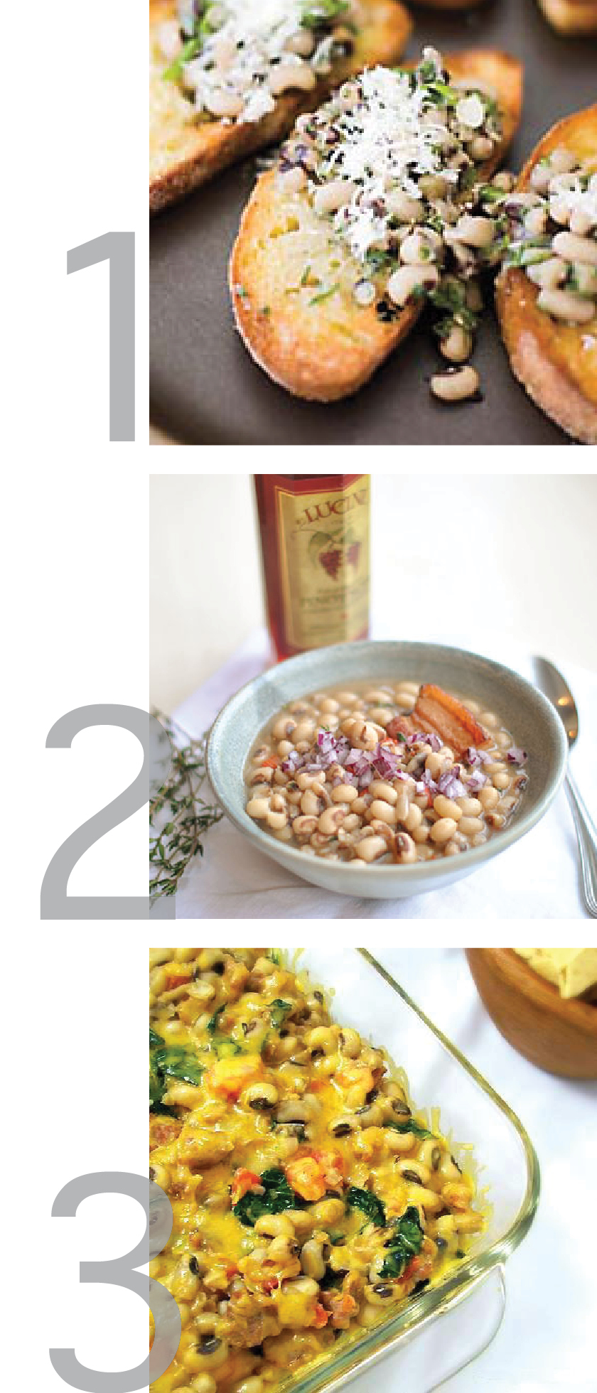 this graphic shows images of three different recipes for lucky new years black eyed peas