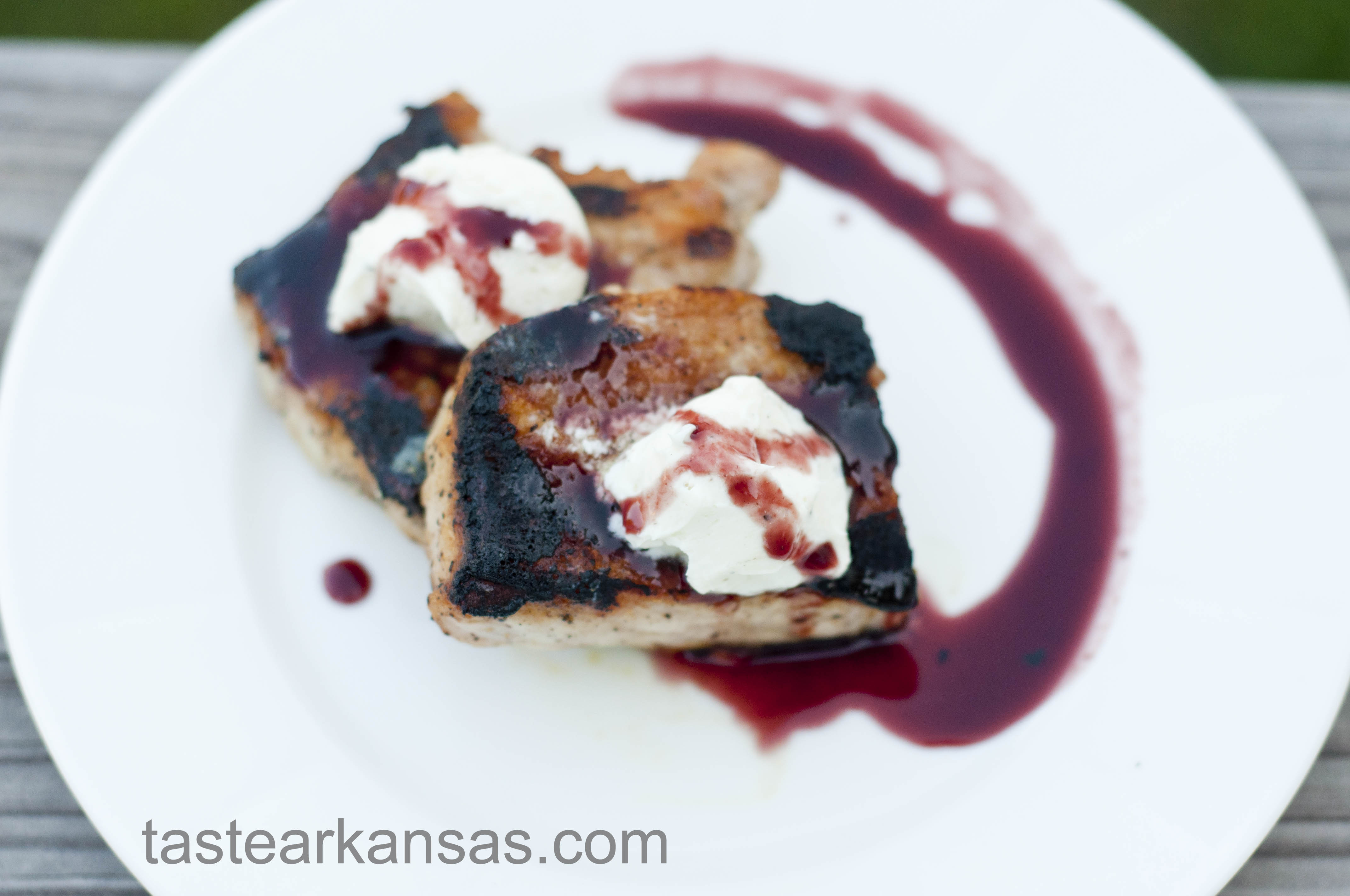 Pork Loin Medallions with Goat Cheese Butter and a Blackberry Balsamic Reduction